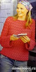 Ажурный пуловер с вырезом лодочка