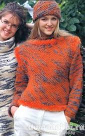 Вязаный комплект:свитер, жилет, шапка