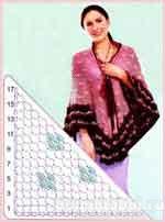Вязаная ажурная шаль с отделкой