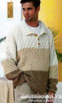 Пуловер с воротником поло