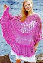 Вязаное ярко-розовое пончо