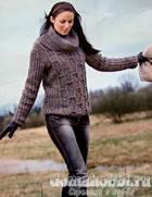 Меланжевый пуловер с отдельным воротником