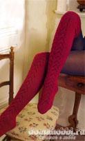 Розовые вязанные чулки