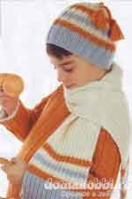 Вязаная шапочка в полоску и шарф