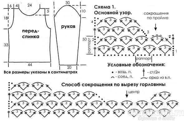 Кофты с рукавом крючком схемы и описание