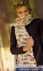 Вязаный шарф из буклированной пряжи