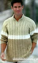 Трехцветный мужской пуловер покроя реглан