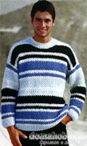 Полосатый пуловер с сетчатым патентным узором