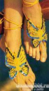 Вязаное украшение для ног – бабочка