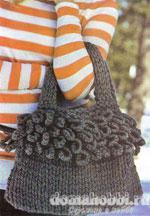 Вязаная серая сумочка