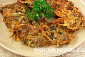 Оладьи картофельные с опятами