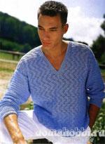 Мужской вязаный лёгкий пуловер