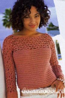 Пуловер с арочной кокеткой