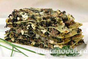 Лазанья с бараниной и шпинатом