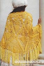 Вязаная шаль жёлтого цвета
