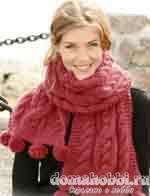 Схема вязания шарфа с помпонами