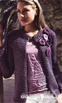 Жакет с вязаными цветами