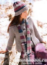 Жакет, шапочка и шарф