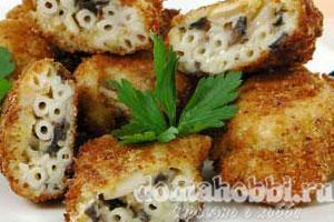 Крокеты из макарон с грибами