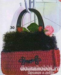 Вязаная красная сумка с чёрной отделкой