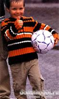 Полосатый пуловер со шнуровкой