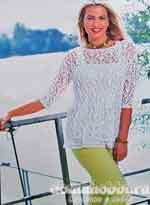Вязаное ажурное платье-туника