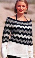 Черно-белый пуловер с круглой кокеткой